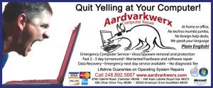 Aaardvarkwerx Yelling advertisement