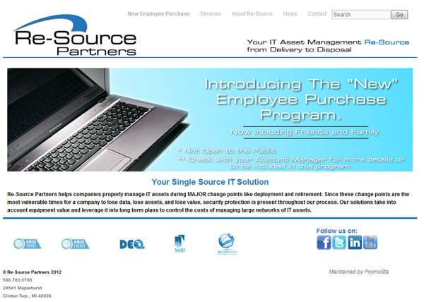 Re-Source Partners web site powered by wordpress